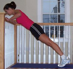 """Strength Training > Wall Push Up: """"Stand a few feet away from a wall . . . and place hands on wall . . . so that they're just wider than the shoulders. Pull the abs in and, keeping back straight, bend elbows and lower body towards the wall/rail until elbows are at 90 degree angles. Push back to start and repeat."""" 5 Sets 10 Repetitions"""