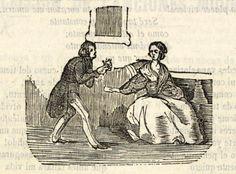 Xilografía en texto de un hombre inclinado ante una mujer sentada y con una carta en su mano.
