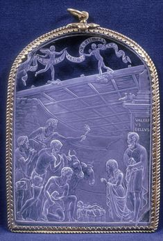 Pendant with the Adoration of the Shepherds:         Description       English: Valerio Belli is the first great engraver of rock crystal and other semiprecious stones of the Renaissance. The subject of this plaque is Christian, ca. 1530.