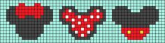Alpha friendship bracelet pattern added by LMckeown. Beaded Cross Stitch, Peyote Stitch, Cross Stitch Embroidery, Hama Beads Patterns, Beading Patterns, Cross Stitch Designs, Cross Stitch Patterns, Pixel Art, Mickey E Minnie Mouse
