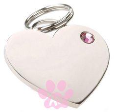 Valentine Gift   Dog ID Tag by K9 - Rhinestone Heart