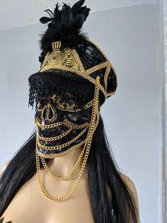 Unique Luxury Bride Hats, Festival Hats and Accessories by GlitzGirlsUK Festival Coats, Festival Gear, Festival Costumes, Go Go Dancer Costume, Fancy Dress Hats, Burning Man Art, Arab Girls Hijab, Burning Man Outfits, Fashion Mask