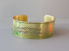 "Guardian Angel Horse Bracelet Cuff, Etched Brass 1"" wide handmade, apple spring green, Joann Hayssen SRA $30.00 and 20% will be donated to Rosemary Farm Horse Sanctuary!"
