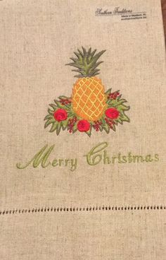Pineapple Embroidered Towel