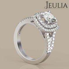 360 view of Jeulia Halo Split Shank Cushion Cut White Sapphire Engagement Ring