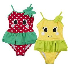 Minikidz One-Piece Swimsuits Clothes, Shoes & Accessories Baby Bikini, Baby Swimsuit, Toddler Dress, Baby Dress, Kids Swimwear, Swimsuits, Baby Girls, Infant Girls, Fruit Costumes