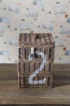 Stenciled basket from Rivera Maision Shop.....I think I could make this!