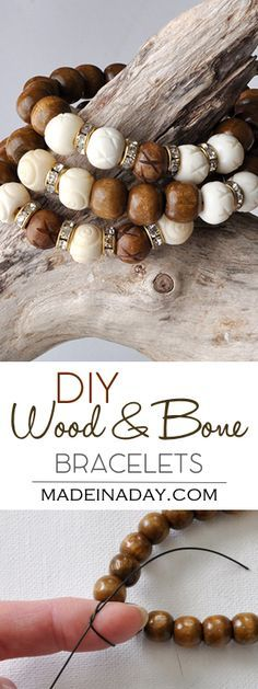 DIY Wood White Bone Bracelet madeinaday.com