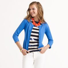 Love the stripes, sequins and contrasting necklace!