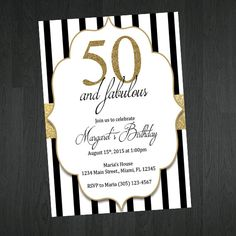 Black gold bow 50th womans birthday invitation 50th birthday 50th birthday invitation gold black and white birthday invitation classy birthday invitation birthday invitation printable filmwisefo Image collections