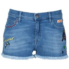 Mira Mikati Embroidered Denim Shorts (3.500.415 IDR) ❤ liked on Polyvore featuring shorts, blue, blue denim shorts, embroidered denim shorts, denim shorts, denim short shorts and short jean shorts