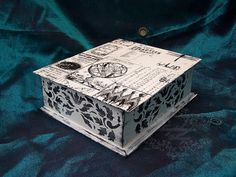 Vintage Decoupage Storage  Box, Box old letter , Box for souvenirs,Box photos,Box book,Black-and-white box,Box of gothic graphics