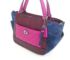 Coach Park Multi Color Quilted Colorblock Carrie Tote F49865 | eBay