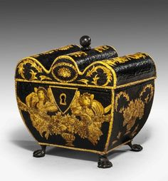 A charming Regency period Tole Ware Tea Caddy, the the gentle gilding decorated with figures, urns and scroll work, the interior retaining original tin lining. Windsor House Antiques