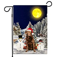 PrintYmotion Labrador Dog with Snowman Christmas Holidays Garden Flag, Dog Lovers Gift (12 x 18 Inches) PrintYmotion #Labrador #Dog Lovers gift #Christmas Gift #Christmas Flag