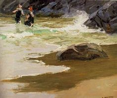 Edward Henry Potthast Bathers by a Rocky Coast painting is shipped worldwide,including stretched canvas and framed art.This Edward Henry Potthast Bathers by a Rocky Coast painting is available at custom size. Andrew Wyeth Paintings, American Impressionism, Seascape Art, Sand And Water, A4 Poster, Sculpture, Vintage Artwork, Landscape Paintings, Landscapes