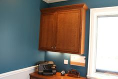 A cherry wood custom in-set #cabinet we installed for a family's home office room in Glenview!