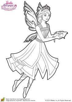 Coloring Page Barbie Mariposa Fairy Princess ColiringPage 07
