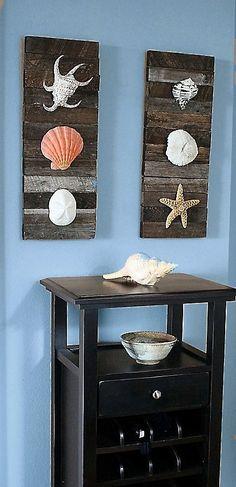 WALL ART!  Beach Decor Shells on driftwood for Coastal by BeachArtDesigns,