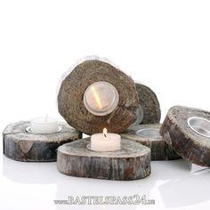 Teelichthalter aus Holz, Gr. 11,5x2,5 cm, Holzscheiben...