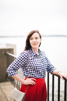 Fourth of July Style in Gingham and a Midi Skirt