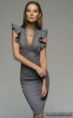 Woman Mini Dress Pencil ,Grey Elegant Knee Length Dress Ruffled Sleeve.