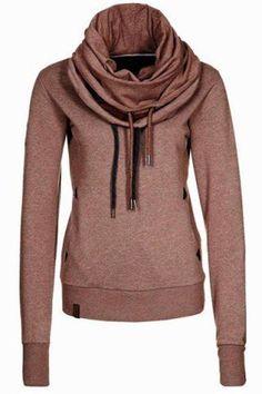 Brown Plain Drawstring Long Sleeve Casual Pullover Sweatshirt