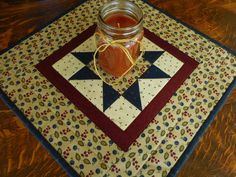 Candle Mat/Small Quilt County Colors, Beige, Burgundy and Blue by RubysQuiltShop on Etsy