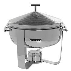 Expressly HUBERT Hammered Stainless Steel 3 Qt Round Chafing Dish - 13 1/2