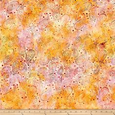 Timeless Treasures Tonga Batik Zanzibar Henna Paisley Mai Tai from @fabricdotcom  From Timeless Treasures, this batik fabric is created using the traditional wax resist dyeing process. It is Perfect for quilting, apparel, and home decor accents. Colors include orange, pink, hot pink, and green.