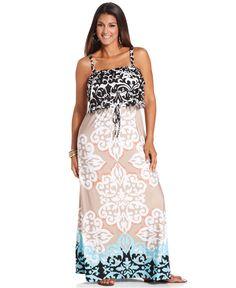 Style Plus Size Dress, Sleeveless Printed Ruffle Maxi - Plus Size Dresses - Plus Sizes - Macys