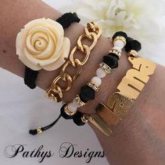 Quartet of genuine handmade elastic and adaptable bracelet, beads naccar genuine and crystal bracelets, charm gold plated, mom, gift idea by PathysDesign on Etsy