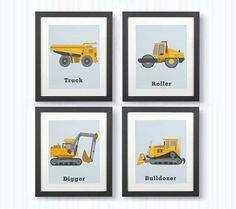 SET OF 4 PRINTS, Boy room decor, Construction prints, Toddler wall decor, Children room art, Dump Truck, Digger