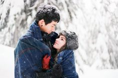 Beautiful, Snowy Engagement Shoot In The Woods | Nadia Hung Photography