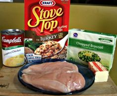 Crockpot chicken and brocolli  ~~  I just put this in my crockpot....I added another can of soup over the top as well.
