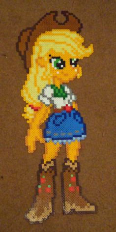 MLP Applejack Equestria GIrls perler craft by Pika-Robo on deviantART