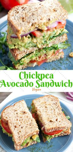 Chickpea Avocado Sandwich This vegan chickpea and avocado sandwich is packed with protein and full of cilantro celery basil green onion lime and more! The perfect lunch recipe! The post Chickpea Avocado Sandwich appeared first on Vegan. Sandwich Vegan, Chickpea Sandwich, Bagel Sandwich, Vegan Sandwiches, Bagel Bread, Avocado Sandwich Recipes, Sandwich Ideas, Vegan Avocado Recipes, Vegan Chickpea Recipes