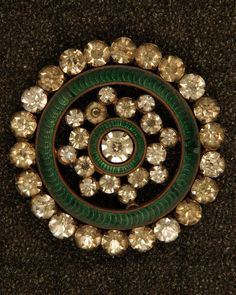 Rhinestone and green enamel button.