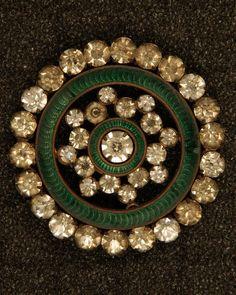 Gorgeous Vintage Rhinestone and green enamel button.