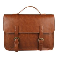 Amazon.com: Ecosusi Men Vintage Leather Briefcase Hand Bags Satchel (Brown): Clothing