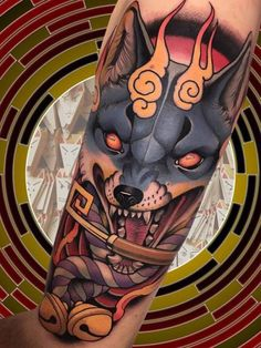 Fox Tattoo by Alan Ferioli Wolf Eye Tattoo, Fox Tattoo Men, Wolf Pack Tattoo, Celtic Wolf Tattoo, Lone Wolf Tattoo, Howling Wolf Tattoo, Fox Tattoo Design, Wolf Tattoos Men, Tribal Wolf Tattoo