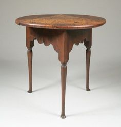 Queen Anne Tiger Maple Tri Drop Leaf Table   New England, Probably  Connecticut,