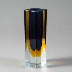 A Chunky Rectangular Murano Sommerso Glass Vase 1960s