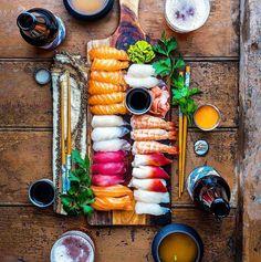 When dinner is art. And art is dinner. Raw. Fresh. Breathtaking. Sushi. #Perfection  Courtesy: Dennis the Prescott   @dennistheprescott  #chef #cheflife #seafood #pescatarian #paleo #crab #shrimp #prawn #art #saturday #lobster #crab #sushi #datenight #fish #fishing #herefishyfishy #umami #fresh #fashion #style #instagood #foodstagram #foodgasm #foodporn #sake #beautifulcuisines #food52grams #getinmybelly