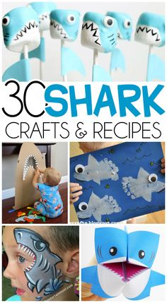 30 Shark Week Kids Crafts, Activities, and Recipes Click on the links below for the tutorials. 1.Shark Toilet Paper Roll Craft– From Wife Mom Geek 2.Shark Baby Robe Tutorial– From Crazy Little Projects 3.Shark Marshmallow Pops– From The Decorated Cookie 4.Toilet Roll Shark Binoculars– From Pink Stripey Socks 5. The Shark Bit My Cup Activity …