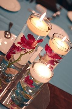 Floating Orchids Centerpiece with candle