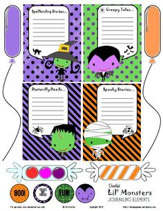 Free Halloween Lil' Monsters Journal Cards and Elements for Project Life from Vintage Glam Studio