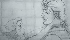 Ce test au crayon de la Belle et la Bête en train de s'embrasser. | 12 tests d'animation Disney qui vont vous faire regretter la 2D