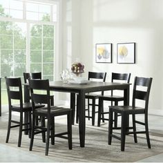 Black Dining Room Sets, Grey Dining Tables, Wood Table Bases, Solid Wood Table Tops, 7 Piece Dining Set, Extendable Dining Table, Table Height, Black Kitchens, Brown And Grey