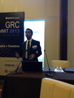 MetricStream GRC Summit 2013 at the Mandarin Oriental Hotel in Las Vegas - Vasant Balasubramanian, VP, MetricStream, speaking during the Product Innovation and Technology Showcase session